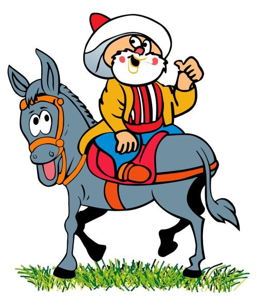 Nasreddin Hodja's Famous Caricature - Sitting backwards on his Donkey