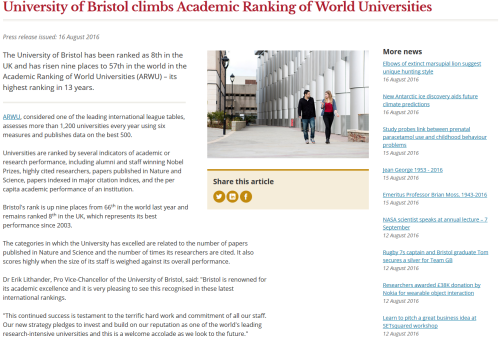 The University of Bristol News webpage on the 16th of August 2016. I feel privileged to have had the chance to be the face of the university in an important announcement such as this.